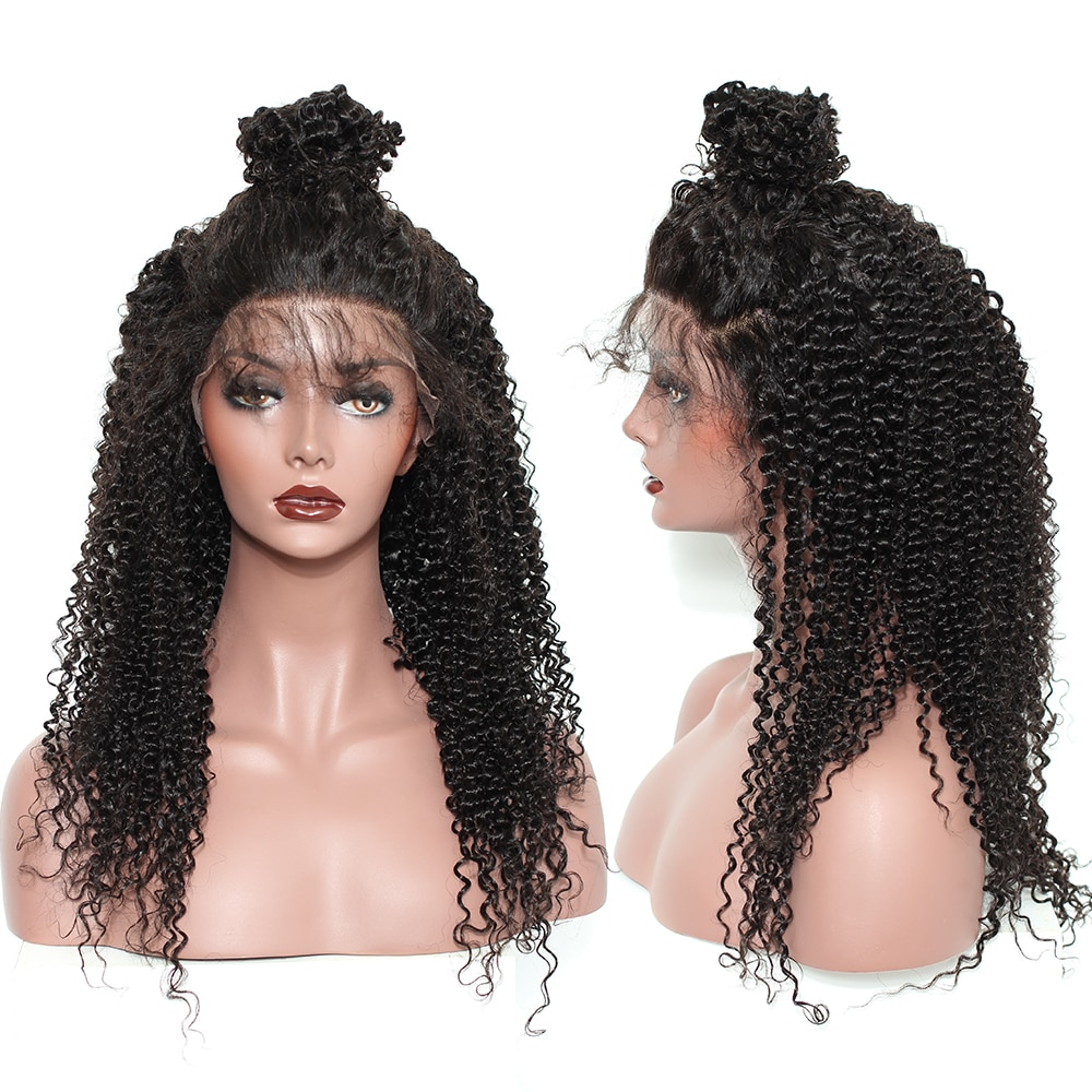 360 Lace Frontal Wig With Baby Hair 250 Density Kinky Curly Bob 13x6 Lace Front Human Hair Wigs