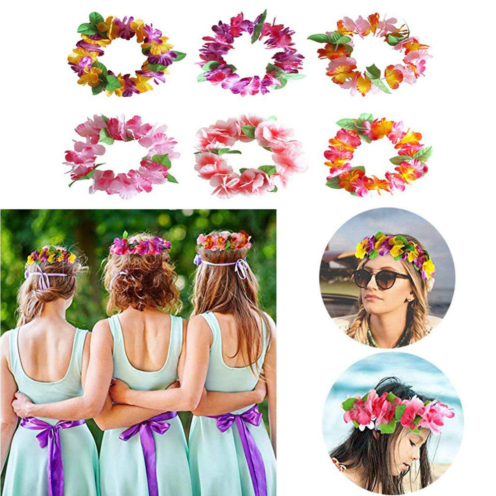 6Pcs Artificial Hawaiian Flowers Leis Garland Necklace & Headband Bracelet Set Summer Beach Party Decoration Birthday Wedding