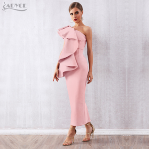 Image 2 - Adyce Donne di Estate Bianco Celebrity Runway Vestito Da Partito Abiti 2020 Sexy Senza Maniche Ruffles Una Spalla Maxi Aderente Club Dress