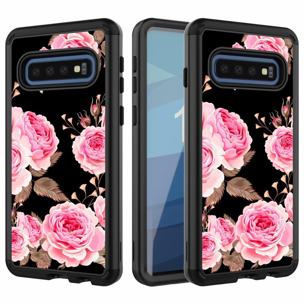360 Full Hybrid Armor Flower Case For Samsung Galaxy S10 S10 Plus Marble Glitter Rugged Impact Back Cover S10E Case Shockproof