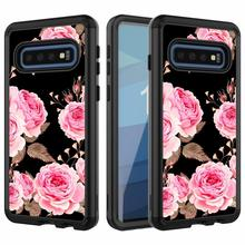 360 Full Hybrid Armor Flower Case For Samsung Galaxy S10 Plus Marble Glitter Rugged Impact Back Cover S10E Shockproof