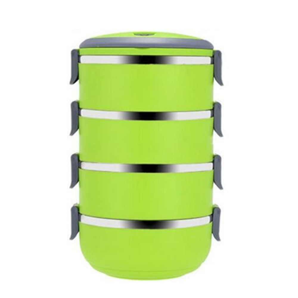 Three Four Tier Stainless Steel Lunch Box 3 Color Food Meal Box Container Lunchbox Tableware Dinnerware Set Dropshipping