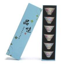 Цзиндэчжэнь эмаль цвет чайные чашки бытовой простой фарфор владелец чашки кунг-фу зеленый чай галстук Гуань Инь чайная посуда 6 подарочная коробка