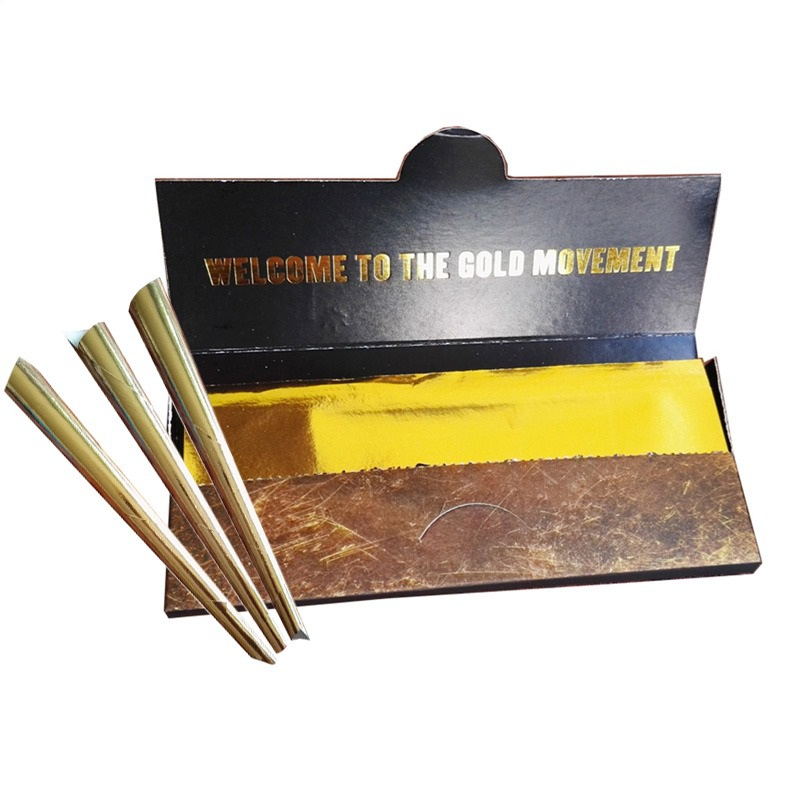 10Pcs/Box Gold Cigarette Rolling Paper Classic Smoking Paper Tobacco Cigarette Accessories Smoking Rolling Papers