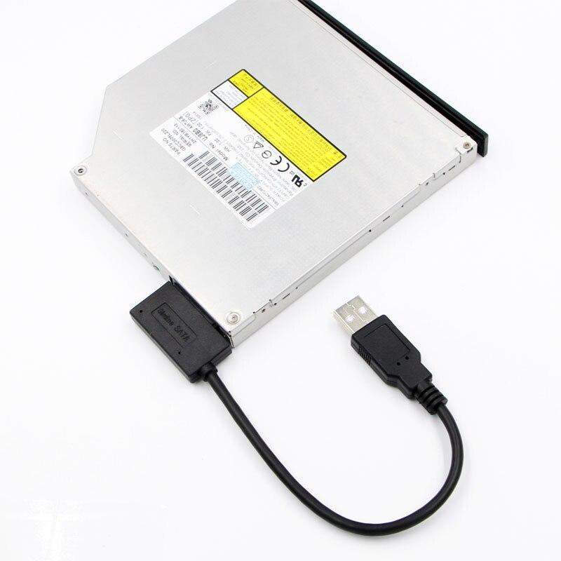 Cabo slimline da movimentação do pino de sata 13 para o caderno do portátil do computador portátil 35 cm adaptador usb 6 p 7 p cd dvd rom sata ao conversor de usb 2.0