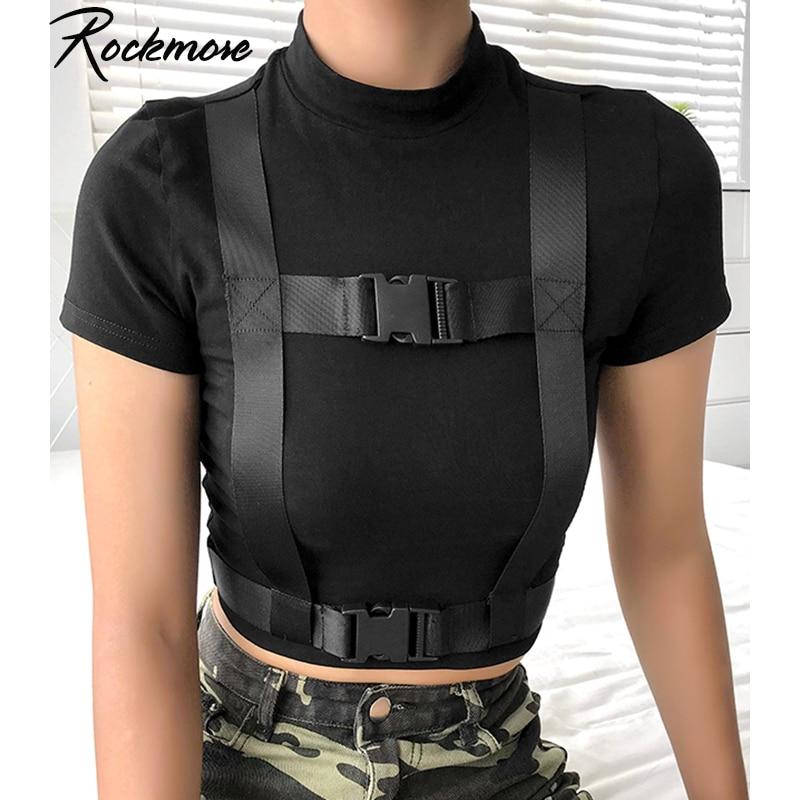 Rockmore negro ajustado gótico doble camiseta hebilla mujeres algodón camisetas de manga corta Mujer Casual Streetwear Crop camisetas