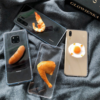 3D Egg Chicken Leg Phone Case for Iphone XS MAX Case Ham Transparent Anti-knock Case for Iphone 11 X XS 7PLUS 8PLUS 6 6S Coque