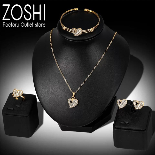 Moda dubai conjuntos de jóias de ouro cristal coração colar pulseira anel brincos conjunto de presente de casamento africano nigéria jóias para mulher 2