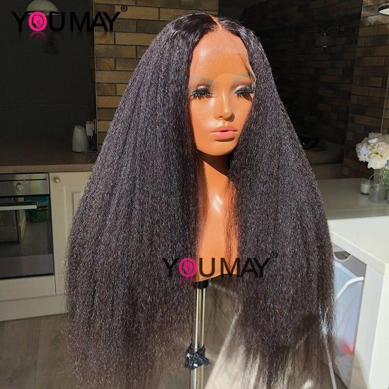 Kinky Straight Glueless Full Lace Wigs Human Hair Italian Yaki Human Hair Wigs Transparent Fake Scalp You May 30 Inch Hair