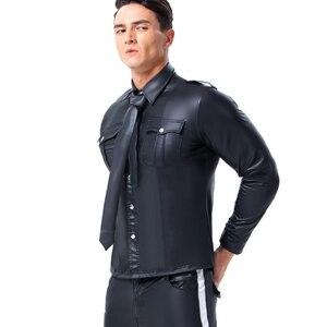 Image 3 - 男性フェイクレザー長袖シャツ Pu レザー Tシャツ男性セクシーなフィットネスゲイラテックス Tシャツ Tシャツトップス男性セクシーなパーティークラブウェア