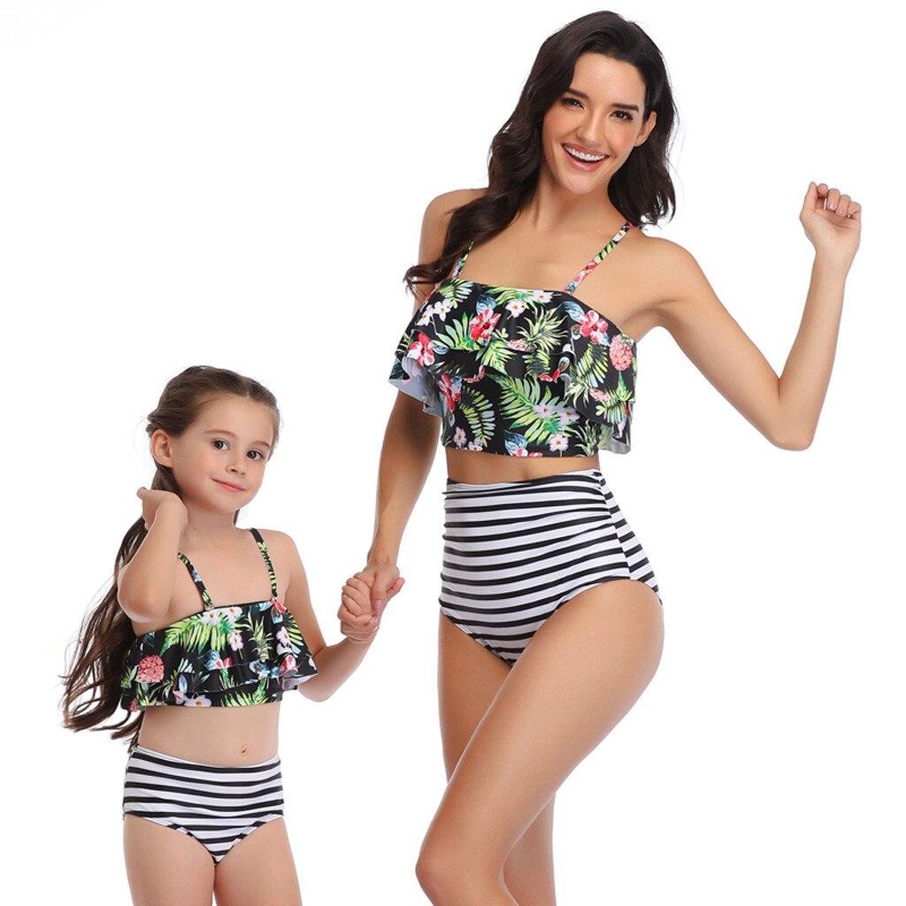 Mulher mãe e filha imprimir duas peças conjunto roupa interior correspondência mãe impresso lingerie lenceria mujer 19dec10