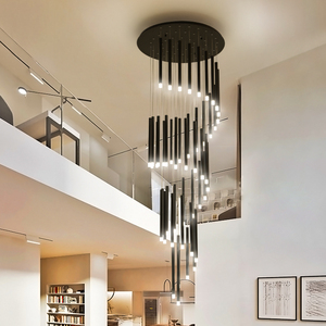 Image 2 - 90W 147W LED נברשות ספירלה חדר מדרגות מלון לובי ארוך תאורת תליית גופי ברזל מודרני מט שחור נברשת מנורה