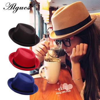 Wool Fabric Jazz Billycock Women's England Crimping Felt Cap Autumn And Winter Hat Top Hat For Women Felt Wide Brim Fedora Hat