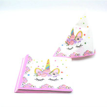 New Napkin Unicorn Tableware Paper Towels Napkins Birthday Party Festival Animal Cartoon Animation Anime Theme Pink Girl 10Pcs