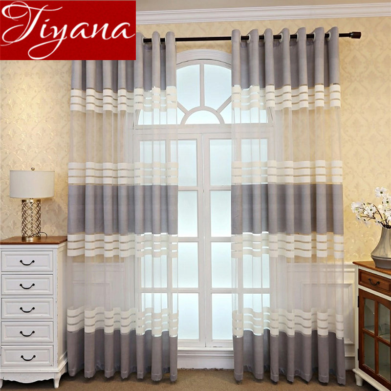 Horizontal Stripes Grey Curtain For Living Room Lace Voile Curtain Drape Window Treatment Tull Curtain Custom Made M149#30