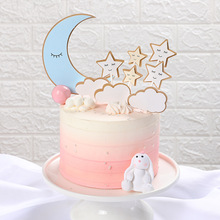 1 Set Baked Cake Decoration Moon Stars Clouds Card Birthday Party Topper Happy