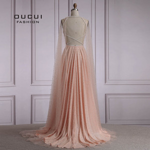 Image 5 - Oucui Luxury Illusion Pink Pearls Open Back Evening Party Dresses Long 2020 Halter Tulle A line Prom Gown with Cape OL103546