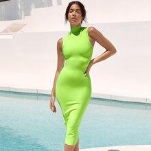 Adyce 2020 novo verão mulheres bandage vestido sexy sem mangas verde tanque bodycon clube vestidos celebridade festa à noite vestido