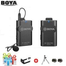 BOYA BY WM4 BY WM4 Pro Professionale Wireless Sistema di Microfono A Condensatore Lavalier Video Mic per Canon Nikon Sony DSLR per il iPhone