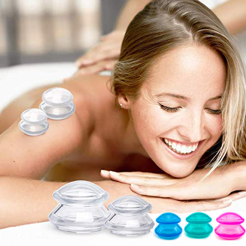 Wholesale Double-deck Health Medical Large Facial Cups Silicone Massage Suction Therapy Vacuum Cupping Set