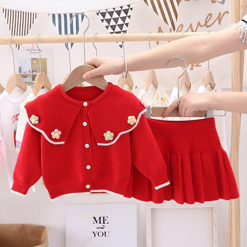 2 шт., детский трикотажный свитер с длинным рукавом и платье