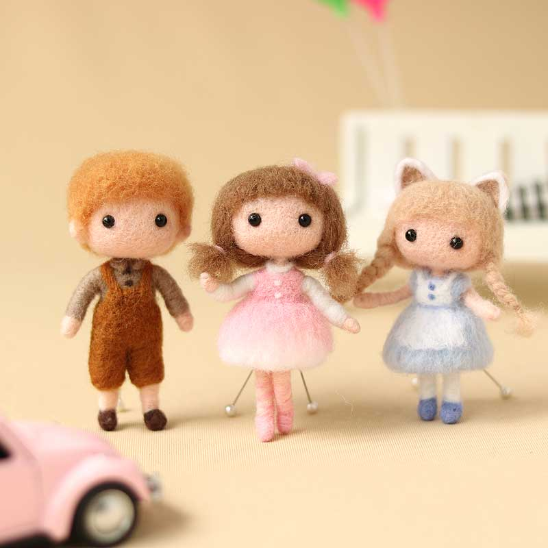 2020 Non Finished Boy And Girls Doll Toy Wool Needle Felting Kits Package Handmade DIY At Home Classic Artwork Gift For Her
