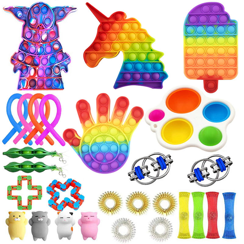 Fidget Toys Anti Stress Stretchy Strings Mesh Marble Relief Sensory Toy Set Gift img2