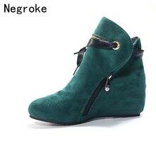 купить Women Ankle Boots Wedges Autumn Female High Heel Height Increasing Shoes Ladies Winter Warm Plush Short Booties Plus Size 35-43 по цене 1079.88 рублей