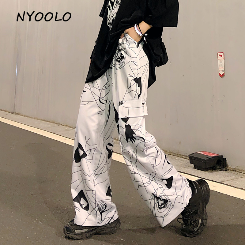 NYOOLO Casual Design 3D Geometric Print Big Pockets Wide Leg Pants Autumn Streetwear Loose Elastic Waist Full Length Pants