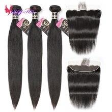 Прямые волосы Yuyongtai, 3 пряди, с 1 застежкой, малазийские волосы, не Реми, с кружевом спереди, 13*4