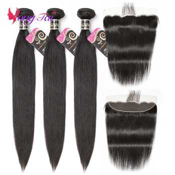 Yuyongtai Straight Hair 3 Bundles with 1 Closure Malaysian Non remy  Hair With Lace Front 13*4 Free Shipping - DISCOUNT ITEM  58% OFF All Category