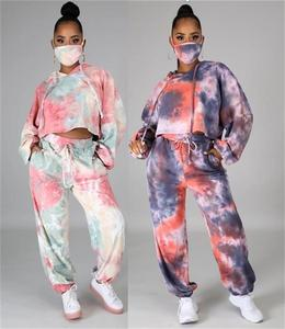 Jane Deiune 2020 New Autumn Winter Women Popular Tie Dye Printed Hoodie Tracksuit With Mask Fashion Suit Two Piece Set Lady