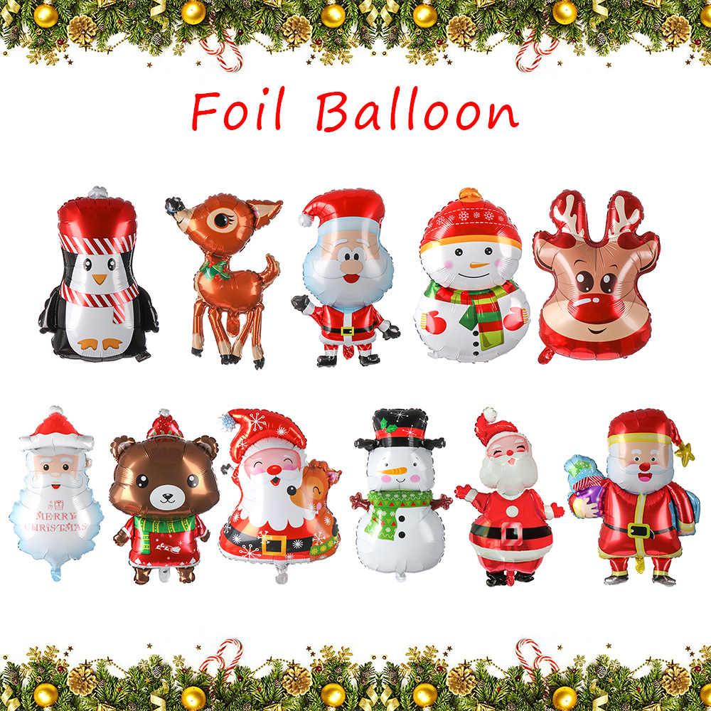 Decor Gift Snowman Elk Deer Santa Claus Xmas Ornament Helium Foil Balloon
