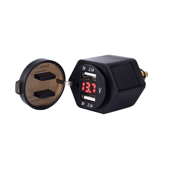 Charger Socket LED Voltmeter With Cover PVC Dual USB Safe Motorcycle Waterproof Digital Display 4.2A Adapter Durable Plug image