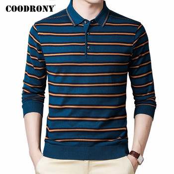 COODRONY Brand Sweater Men Autumn Winter Turn-down Collar Knitwear Shirts Pullover Men Fashion Striped Casual Pull Homme C1133 coodrony brand wool sweater men streetwear fashion striped pull homme spring autumn casual knitwear v neck pullover shirts c1089