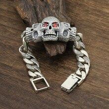 цена 925 Sterling Silver Jewelry Men Women Inlaid natural stone Punk Skull Charm Chain Bracelet Bangle онлайн в 2017 году