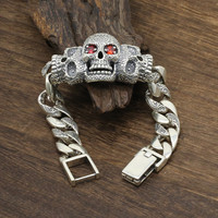 925 Sterling Silver Jewelry Men Women Inlaid natural stone Punk Skull Charm Chain Bracelet Bangle