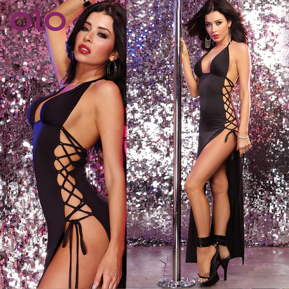OLO Erotic Underwear Side Strap BacklessHaltered Skirt Female Temptation Dress Women Sexy Lingerie Sexy Sleepwear Babydoll