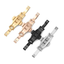 Watch-Buckle19 Strap Clasp Suitable-For Butterfly Foldable Stainless-Steel Double-Button
