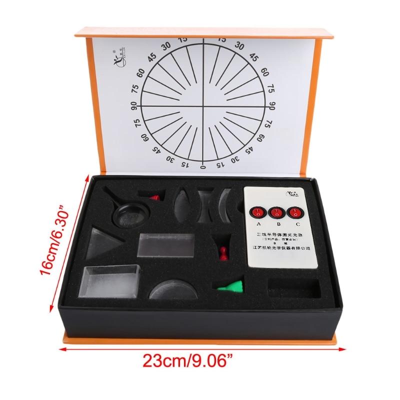 Conjunto de prisma lente convexa côncava óptica óptica óptica óptica óptica kit equipamento de laboratório suporte do navio da gota