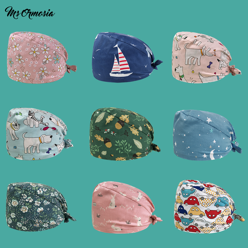 Cute Cartoon Pattern Scrub Hats Surgical Caps Womens Hospital Medical Work Hat With Sweatband 100% Cotton Dental Nursing Caps