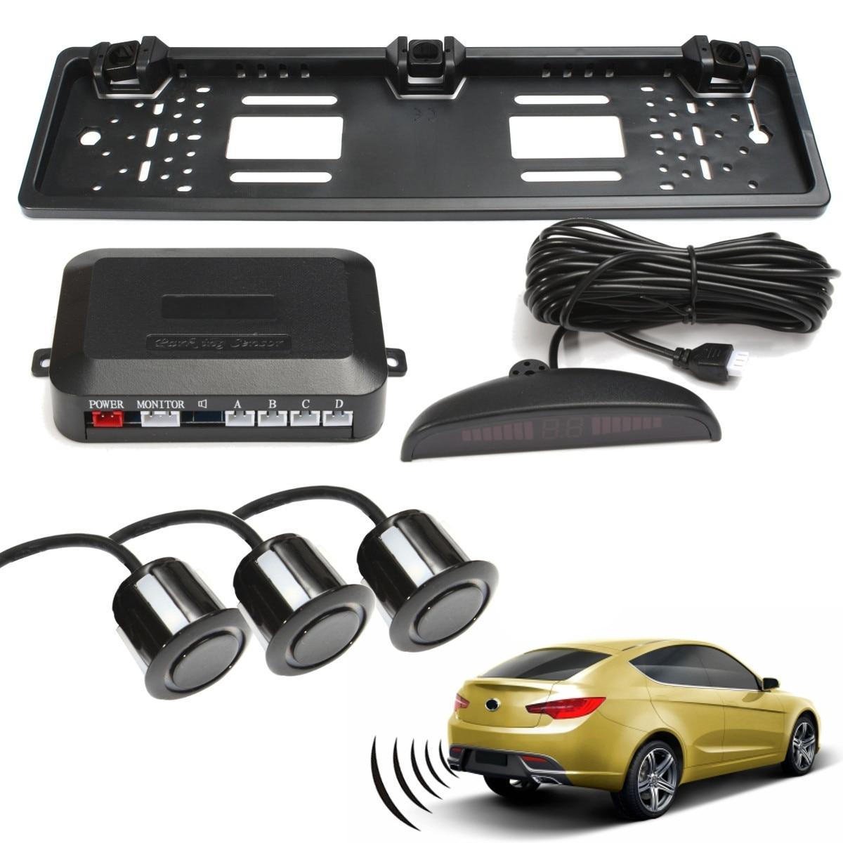 Universial 자동차 자동 Parktronic LED 주차 레이더 센서 시스템 모니터 디스플레이 4 센서 EU Lisence 플레이트 후면보기 카메라-에서주차 센서부터 자동차 및 오토바이 의
