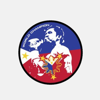 Filipino Boxer Manny WORLD CHAMPION Flag Window Car Sticker Rear End Decoration KK 10CM*10CM image