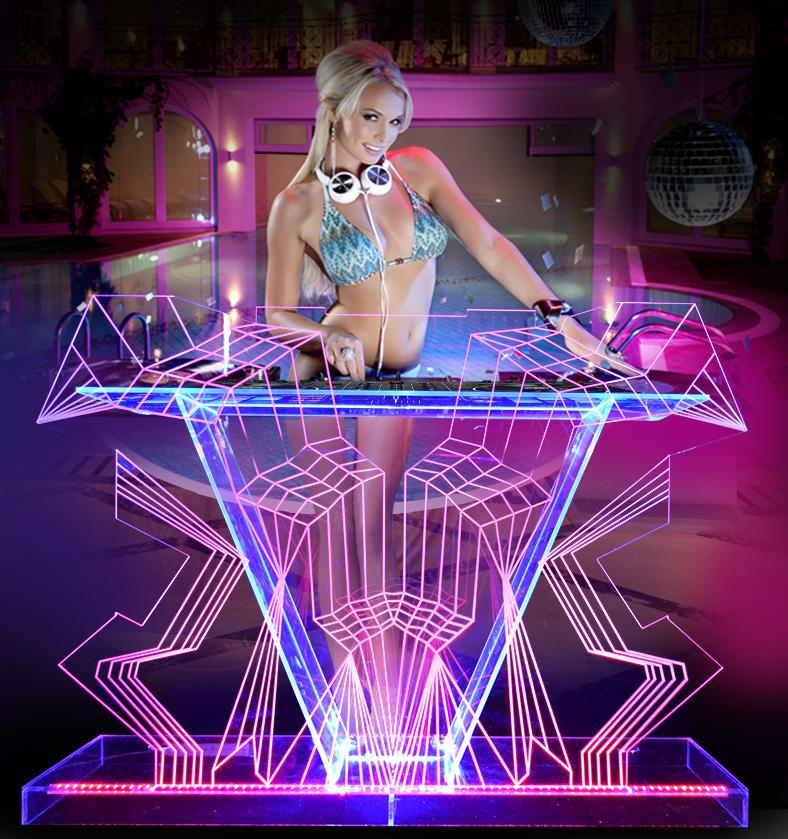 Illuminated DJ Table GUIHEYUN Custom DJ Booth With Dynamic LED Lights