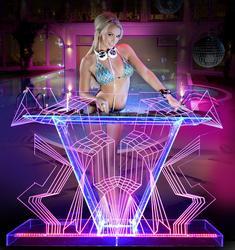 Illuminato DJ Table GUIHEYUN Personalizzata DJ Booth con Luci A LED dinamica