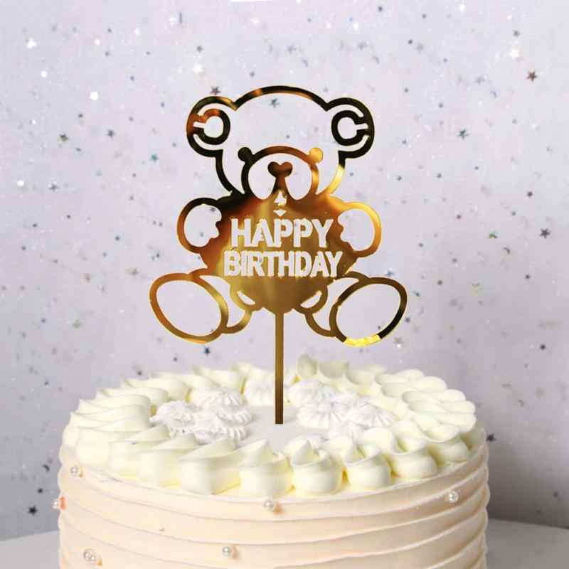 1 Uds. Suministros de boda para fiesta de cumpleaños de niña brillo torta de cumpleaños acrílico carta oro plata torta decoración superior de la bandera