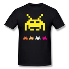 Aliens black T Shirt Space Invaders homme T-Shirt Tees Pure Short Sleeve