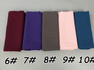 Image 4 - Foulard en mousseline de soie unie, 80 couleurs, châles de couleur unie, hijab populaire, écharpes musulmanes populaires, 10 pièces/lot