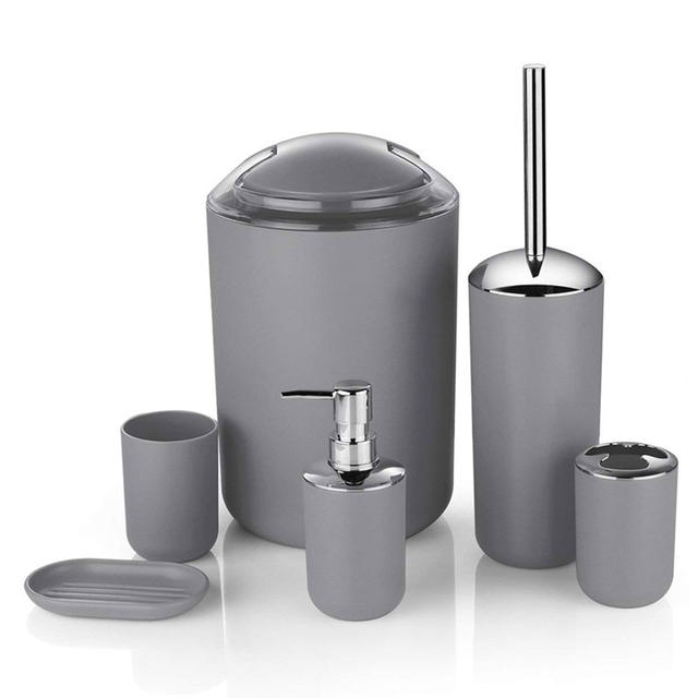 6 Pcs Bathroom Accessories European Sets Bathroom Hotel Trash Bin Household Supplies