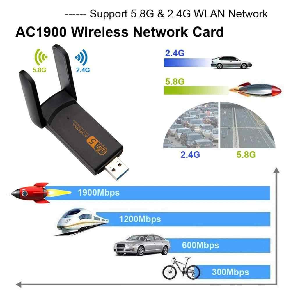 1900Mbps/1200Mbps USB WiFi adaptörü 5GHZ USB3.0 WI-FI adaptörü çift bant Wifi anten kablosuz alıcı masaüstü için dizüstü bilgisayar